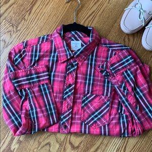 Gap boyfriend button down plaid shirt
